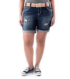 Wallflower® Plus Size Belted Destructed Jean Shorts