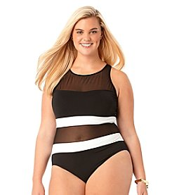 Anne Cole® Plus Size Mesh High Neck Maillot One-Piece