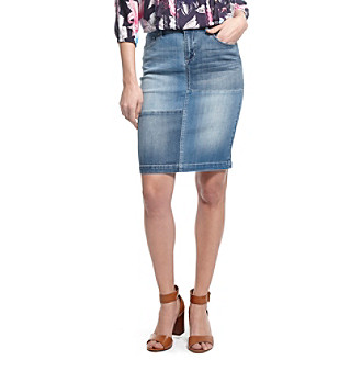 Vintage America Blues™ Patch Denim Skirt plus size,  plus size fashion plus size appare