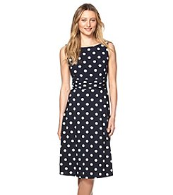 Chaps® Sleeveless Polka-Dot Dress