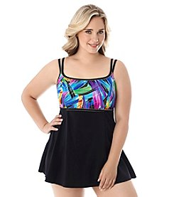 Longitude® Plus Size Wipe Out Swimdress