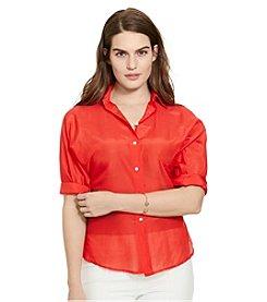 Lauren Ralph Lauren® Plus Size Cotton-Silk Voile Shirt