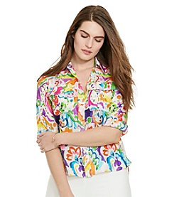 Lauren Ralph Lauren® Plus Size Paisley Cotton-Silk Shirt