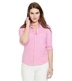 Lauren Ralph Lauren® Plus Size Pique-Knit Cotton Shirt