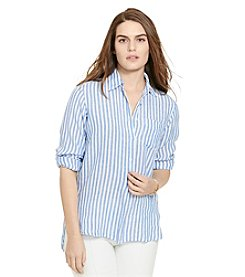Lauren Ralph Lauren® Plus Size Striped Linen Shirt