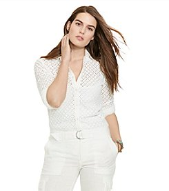 Lauren Ralph Lauren® Plus Size Long Sleeve Eyelet Shirt