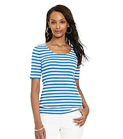 Lauren Ralph Lauren® Petites' Striped Stretch Cotton Tee