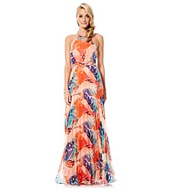 Laundry by Shelli Segal Printed Halter Gown
