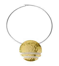 Robert Lee Morris Soho™ Two Tone Wire Wrapped Round Pendant Collar Necklace
