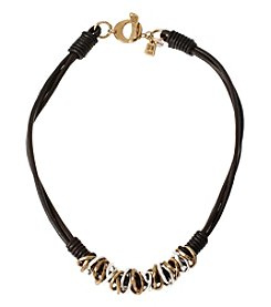 Robert Lee Morris Soho™ Two Tone Mixed Metal Ring Frontal Leather Necklace