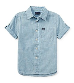 Ralph Lauren Childrenswear Boys' 2T-7 Short Sleeve Chambray Button Down Shirt