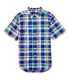 Ralph Lauren Childrenswear Boys' 2T-7 Short Sleeve Madras Button Down Shirt
