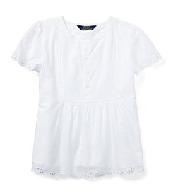 Ralph Lauren Childrenswear Girls' 7-16 Short Sleeve Eyelet Top