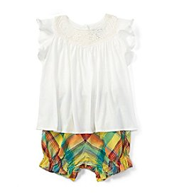 Ralph Lauren® Baby Girls' Lace Yoke Tee And Plaid Shorts Set