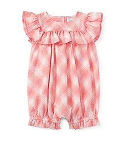 Ralph Lauren® Baby Girls' Plaid Ruffle One-Piece Shortall
