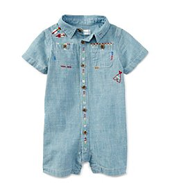 Ralph Lauren Childrenswear Baby Boys Embroidered Chambray One-Piece Shortall