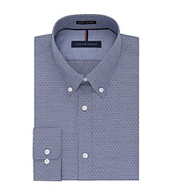 Tommy Hilfiger® Men's Slim Fit Blue Print Long Sleeve Button Down Collar Dress Shirt