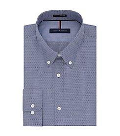 Tommy Hilfiger® Men's Slim Fit Blue Print Long Sleeve Button Down Collar Dress Shirt