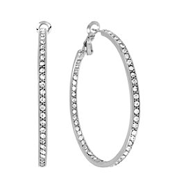 Samara® Medium Crystal Inside Out Silvertone Hoop Earrings
