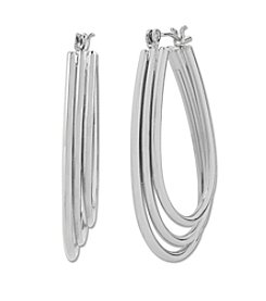 Samara® Triple Row Oval Silvertone Hoop Earrings