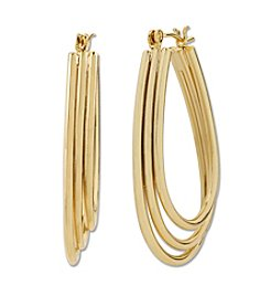 Samara® Triple Row Oval Goldtone Hoop Earrings