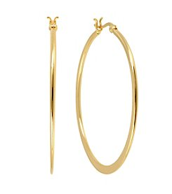 Samara® Medium Knife Edge Goldtone Hoop Earrings