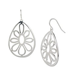 Samara® Flower Cut Out Teardrop Silvertone Earrings