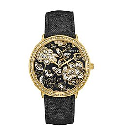 GUESS Women's Black Leather Strap Watch