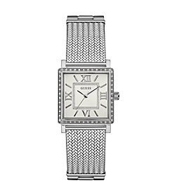 GUESS Women's Silvertone Highline Watch