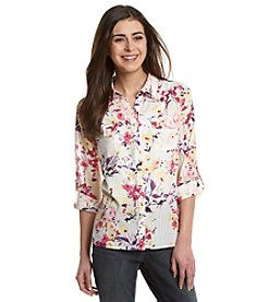 Notations® Petites' Printed Button Front Blouse
