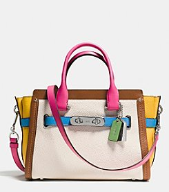 COACH SWAGGER 27 CARRYALL IN RAINBOW COLORBLOCK LEATHER