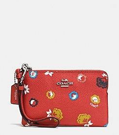 COACH CORNER ZIP WRISTLET IN WILD PRAIRIE PRINT COATED CANVAS
