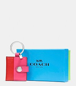COACH BOXED SNAP PICTURE FRAME KEY RING IN COLORBLOCK LEATHER