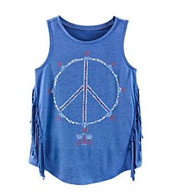 Jessica Simpson Girls' 7-16 Peace Sign Fringe Tank
