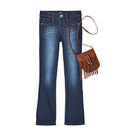 Squeeze® Girls' 7-16 Bootcut Jeans With Fringe Bag