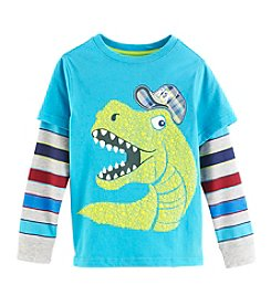 Mix & Match Boys' 4-7 Layered T-Rex Skater Tee