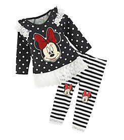 Nannette® Baby Girls' 2-Piece Minnie Mouse® Lace Top And Leggings Set