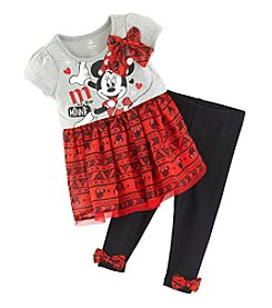 Nannette® Baby Girls' 2-Piece Minnie Mouse® Dress And Leggings Set