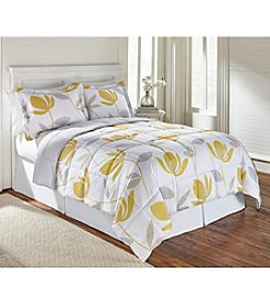 LivingQuarters Reversible Microfiber Down-Alternative Corin Yellow Comforter
