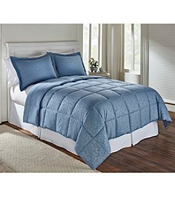 LivingQuarters Reversible Microfiber Down-Alternative Blue Embossed Botanical Comforter