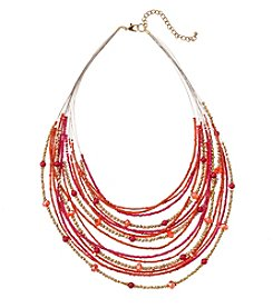 Studio Works Pink And Coral Seed Bead Illusion Necklace