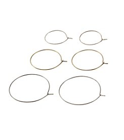 Ruff Hewn Set Of Three Endless Wire Hoop Earrings