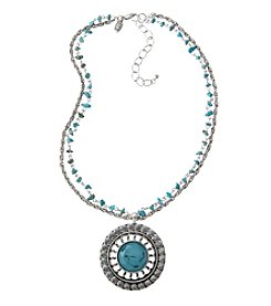 Laura Ashley® Two Row Chain Necklace With Turquoise Pendant