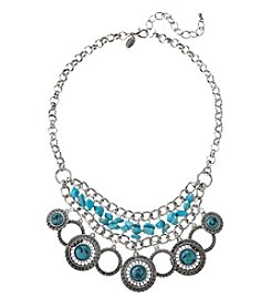 Laura Ashley® Silvertone Shaky Frontal Necklace With Turquoise Chips