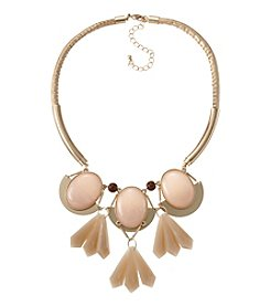 Relativity Peach And Goldtone Frontal Cab Necklace