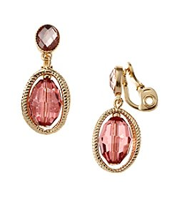 Napier® Goldtone And Pink Double Drop Clip On Earrings