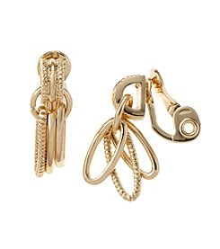 Napier® Goldtone Double Drop Clip Earrings
