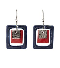 Silver Forest® Red, Blue and Silvertone Squares Earrings