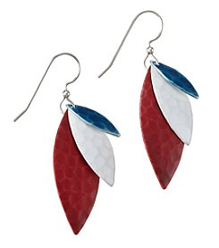 Silver Forest® Silvertone Red, White And Blue Layered Earrings
