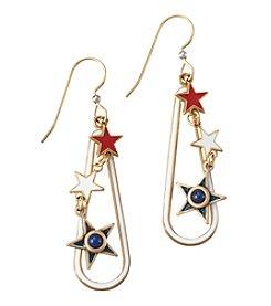 Silver Forest® Goldtone Linear Three Star Earrings